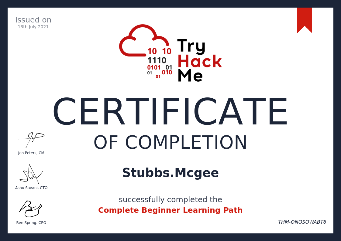 THM Certificate of Completion - Complete Beginner